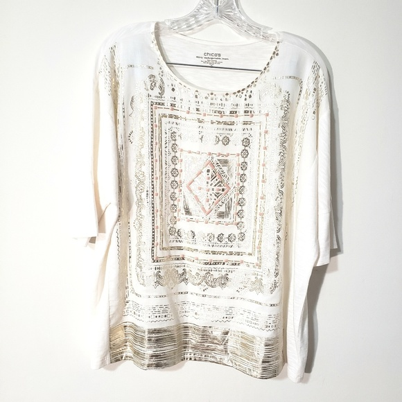 Chico's Tops - Chico's embellished graphic beaded tee top